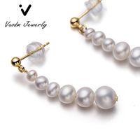 Boucles d'oreilles de la bande vintage blanche longue perle naturelle 100% de perles de perles de perles de perles d'eau douce pour filles