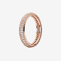 Rose gold plated Elegant Pave Band Rings Women's cz diamond Wedding Jewelry for Pandora Real 925 Silver Crystal Ring with Original box