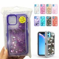 Quicksand Liquide transparent bling Housse de protection anti-choc Glitter téléphone portable Case pour iPhone XS XR 11 PRO MAX 12 pour Samsung S20, plus