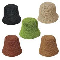 여성 위브 크로 셰 뜨개질 밀짚 버킷 모자 여름 단색 선 스크린 모자 통기성 돔 우아한 접이식 비치 어부 캡