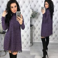 New 2020 Women Dress Turtle Neck Autumn Winter Sexy Casual L...