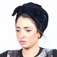 Abbigliamento etnico 2021 donne Bow-nodo velluto turbante hijab cappucci musulmani foulard cofano cappello turbante mujer ragazze fascia copricapo per chemio