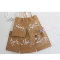 Gåva Wrap Custom Kraft Bags, Bridesmaid Bachelorette Party Bridal Wedding Black White Paper Bags
