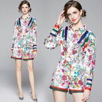 de la piste d'été en gros Femmes dames Ensembles florale vintage imprimé tigre col haut à manches longues Chemise Shorts Survêtements Tenues Chemisier