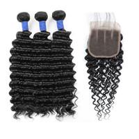 Los paquetes humanos de onda profunda del cabello brasileño de 10a con cierre al por mayor al por mayor, el cabello humano peruano, teje 3bundos con extensiones de cabello de cierre