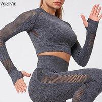 VERTVIE Kadınlar Dikişsiz Kaburga Yoga Seti Spor Kıyafetler Spor Tozluklar Mahsul Gömlek Spor Suit Kadınlar Uzun Kollu Eşofman Aktif Giyim