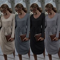 Womens Designer Dress Spring Autumn V Neck Long Sleeve Split...