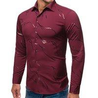 2020 новых людей рубашки способа горячего тиснения Бизнес Повседневный длинным рукавом большого размера Мужская одежда высокого качества платье
