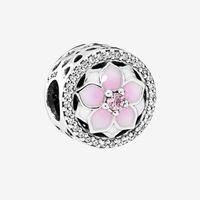 Pink Magnolia 925 Sterling Silver Charm Snake Chain Pulsera Collar Accesorios de joyería para Pandora Flower Charms con caja original