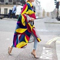 Women's Laine Blends Femmes Élégantes Femmes Cool Street Couleur Géométrique Longue Veste Longue Celebrity Oufits Streetwear