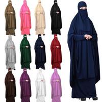 Ropa de rezo musulmán islámica Mujeres Hijab Abaya Niqab Burqa Jilbab Veil Vestido completo Vestido completo Robe Kaftan Khimar