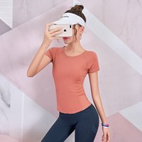 Lusure fitness shirt female summer sports running yoga clothes quick-drying breathable personality T-shirt slim training short s