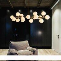 Moden Sanat kolye ışık altın kara büyü fasulye led ışık yemek odası dükkanı striplight cam kolye lamba armatürleri led