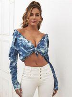 단일 Breaste 스트리트 스타일 여성 의류 가을 여자 디자이너 블라우스 넥타이 염료 옷깃 목 포켓 탑