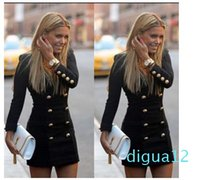 Fashion-2015 Double Breasted Jacket V Neck Slim Outwear Knit Winter Jacket Women Coat Medium Long Casual Jackets For Women New Basic