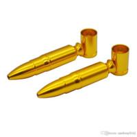 cam borular vs Toptan Bullet Alüminyum Metal Smoking Pipe Mini yaratıcı ve kullanışlı kartuş tütün Herb Borular Shisha Nargile