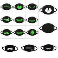 DHL Ship! Luminous Mask 3D Printing Cartoon Cotton Masks Fashion Designer Anti-dust Cloth Mask for Adults