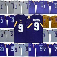 NCAA LSU Tigers Jerseys 9 Joe Burrow 3 Odell Beckham Jr. 7 Grant Delpit 1 Kristian Fulton 1 Ja'marr Chase 20 Billy Cannon Football Jerseys