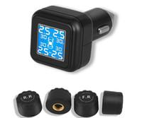 스마트 자동차 TPMS 타이어 압력 모니터링 시스템 담배 라이터 디지털 LCD 디스플레이 자동 보안 경보 시스템