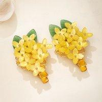 Frauen-Haar-Griffe Headpeice Osmanthus Fragrans Form Blätter Haar-Klipp-Blumen-Dekor-Gelb Hairpin-Haar-Schmuck