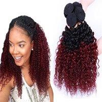 Moda virgn sapıkça kıvırcık saç Ombre İnsan Saç Dokuma 1b 99j Koyu Kök Kırmızı dışı remy Saç Uzantıları