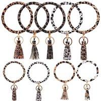 Chaveiro borla pulseira clássico da cópia do leopardo A-Z inicial Acetato Pendant Bangle Exagerado Big Keychain redondo Wrist Strap Moda Jóias