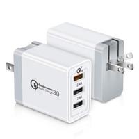 빠른 삼성 LG 스마트 폰에 대한 모바일 전화 어댑터 멀티 플러그 휴대 전화 충전기 3 포트 USB 벽 충전기를 충전 미국 EU 영국 플러그 QC3.0