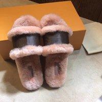 Top verrouillage plat Slipper Mule Diapositives femmes bascule en peluche Monogram Chaussures plates fond noir d'hiver intérieur chaud Princetown cuir Slipper