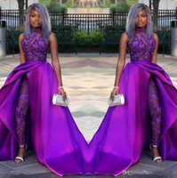 2020 Partido Africano Evening vestidos de baile Macacão Vestidos com trem destacável alta Neck Lace Appliqued Mulheres Pant ternos vestes de soirée