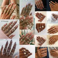Kadınlar Düğün Takı için Bohemian Kadınlar Halkalar Kalp Kelebek Taç Çapraz Geometri Kristal Ortak Halkalar Seti Yapay elmas Parmak Halkası