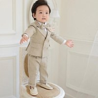 Jungen Anzüge für Hochzeiten Kid Khaki Blazer für kleine Jungen-Kleidung Sets Prom Anzüge Kinder-Blazer-Klage-Jungen-Kleidungs LdQd #