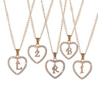 الأزياء القلب A-Z الأبجدية الإنجليزية الأولية قلادة شخصية روز مطلية بالذهب قلادة قلادة سبيكة للمرأة أفضل هدية مجانية الشحن