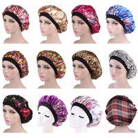 Yeni Geliş Çiçek Baskı Saten Gece Hat Kadınlar Merkez Kapağı Bonnet Saç Bakımı Moda Aksesuar Ücretsiz Kargo Caps Sleeping