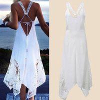Maxi Strand-Kleider Boho Art-Sommer-Halter-Weiß Schwarz mit V-Ausschnitt ärmellosen Kleid Sundress Frauen Langes Kleid