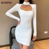 Kadınların 2020 parti elbiseleri için tam kollu zarif ince BODYCON elbise pamuk sahte gerdanlık streetwear gündelik sonbahar elbise InstaHot