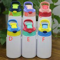 New 350ml Sublimation Kinder Tumbler mit Stroh und Deckel Edelstahl Kids Cup Vacuum Insulated Cartoon Wasserflasche