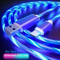 Mikro USB Kablo İçin Huawei Samsung Xiaomi Android Tel Kordon Şarj Tip C Kablo Aydınlık Çıtası TPE Alaşım Kablolar Akan LED Glow