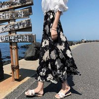 Mozuleva Spring Summer Chiffon Floral Print Skirts for Women 2020 One Piece Midi Beach Party Female A-line Skirts with Lining