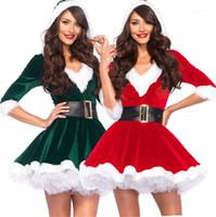 Kemer Festivali Casual Bayan Teması Kostüm Noel Kadın Cosplay Giyim V Yaka Uzun Kollu elbiseler