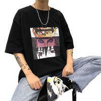 Männer T-Shirts Herren Naruto Cool Mode Unisex Japanische Anime T-Shirts Streetwear Sommer Plus Size Kurzarm Hip Hop Tops