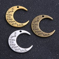 30Pcs lot alloy I love You To The Moon And Back Moon Charms Antique silver bronze Pendant For necklace Jewelry Making findings 30x27mm