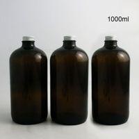 1000ml botella grande vacío recargable 33oz Ámbar oscuro Boston redonda de cristal líquido con tapas de aluminio