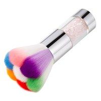 네일 아트 먼지 파우더 반짝이 브러쉬 블러쉬 나일론 머리 다채로운 라인 석 UV 젤 리무버 클리너 재단 아크릴 매니큐어 도구