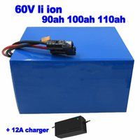 Li ion de 60V 90Ah de 100 Ah 110Ah batería de litio 3000w paquete de camión de alimentos carretilla elevadora AGV Calle UPS EV Sweeper + cargador 12A