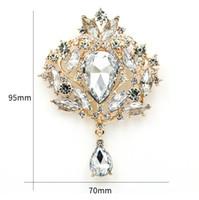 WEIMANJINGDIAN marca de alta calidad grande cristalino de la lágrima Broche para las mujeres o de boda en color oro o plata Colores