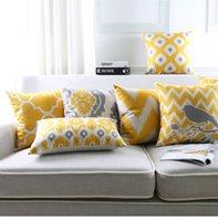 Cuscino / cuscino decorativo cuscino nordico cuscino geometrico cuscini da tiro in lino cotone cotone linee gialle sofà decorativo