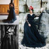 V Yaka Siyah Tül gotik Ülke Gelinlik Dantel Yukarı Seksi Backless Gelinlikler Dantel Uzun Kollu Gelin vestidos de Novia