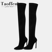 Taoffen 11 Color Women Over The Knee Boots Sexy Leopard Pointed Toe Winter Shoes Woman Party Classics Female Boots Size 34-43