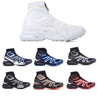salomon sneakers de los hombres botas para la nieve Negro Azul Rojo voltios calcetín rojo zapatos Zapatos para hombre de la nieve del invierno formadores de arranque 40-46