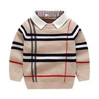 2020 herbst winter jungen gestrickt gestreiften pullover kleinkind kinder langarm pullover kinder mode pullover kleidung für jungen lj200831